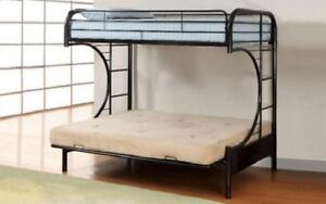 Futon Bunk Bed - Twin over Double with Metal - Black | White | Grey Black