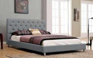 Platform Bed with Button-Tufted Fabric - Grey King / Grey / Linen Style Fabric