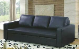 Leather Sofa Bed with Arm Rest - Black Black