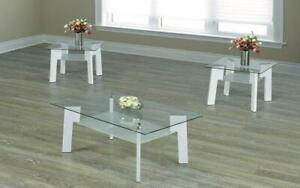 Coffee Table Set with Glass Top with Shelf - 3 pc - White 3 pc Set / White