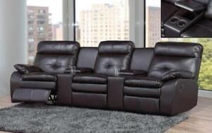 *** BRAND NEW *** HUGE SALE *** RECLINER THEATRE SOFA - AIR LEATHER [BLACK]***LIMITED STOCK****