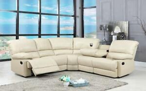 Recliner Corner Sectional - Air Leather [Beige] Beige