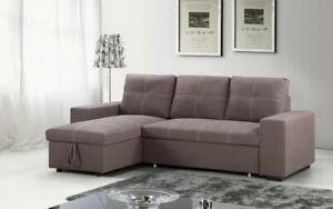 Elephant Skin Sectional Sofa Bed with Reversible Chaise - Brown Brown