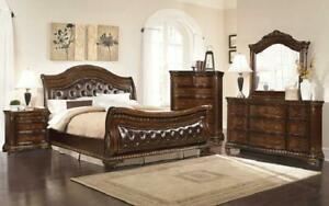 Sleigh Bedroom Set with Tufted Head-Foot Board 8 pc - Dark Walnut King / Dark Walnut