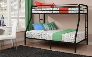 Bunk Bed - Twin over Double with Metal - Black   White   Grey Black