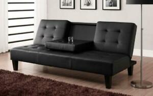 Leather Sofa Bed with Cup Holder - Black Black