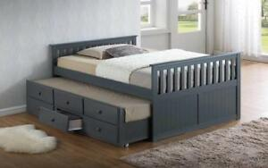 Trundle Bed with Drawers - Grey Bed / Double