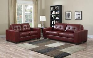 Sofa Set - 2 Piece - Wine 2 pc Set / Wine / Air Leather
