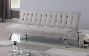 Fabric Sofa Bed with Chrome Legs - Grey Grey