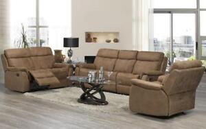 Recliner Set - 3 Piece - Air Suede Fabric [Brown] 3 pc Set / Brown