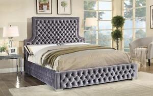 Platform Bed with Velvet Fabric - Grey King / Grey / Velvet Fabric