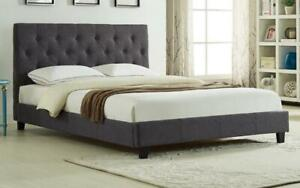 Platform Bed with Button-Tufted Fabric - Grey | Charcoal Queen / Charcoal / Linen Style Fabric