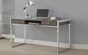 Office Desk with 2 Drawers and Chrome Legs - Distressed Wood & Chrome Distressed Wood & Chrome