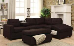 Fabric Sectional Set with Reversible Chaise and Ottoman - Dark Brown Dark Brown