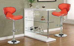 Bar Set with Stools - 3 pc - Red | White | Black | Espresso 3 pc Set / Red
