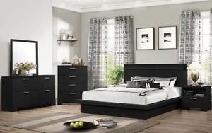 Bedroom Set with Strip Accented Head Board - 8 pc - Black King / Black