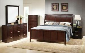 Bedroom Set with Curved Head Board 8 pc - Espresso King / Espresso