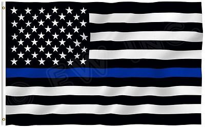 New 3x5 USA Police Thin Blue Line Flag 3'x5' Memorial Law Enforcement Grommets