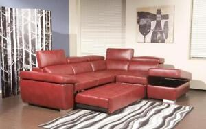 Leather Sectional Sofa with Right Side Chaise - Red Red