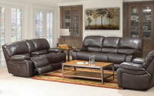 Recliner Set - 3 Piece with Air Leather - Chocolate 3 pc Set / Chocolate