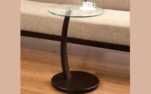 Sofa Table Round Glass Top with Wooden Leg - Espresso Espresso