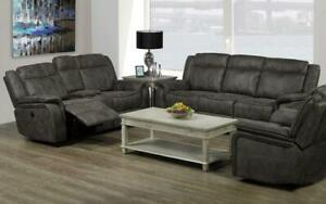 Recliner Set - 3 Piece with Air Suede Fabric - Grey 3 pc Set / Grey
