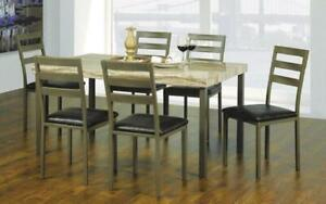 Kitchen Set with Marble Top - 7 pc - Light Brown | Beige 7 pc Set / Light Brown | Beige