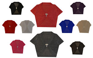 New-Ladies-Women-Short-Sleeve-Shrug-Bolero-Cardigan-Top-UK-Size-8-10-12-14