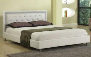 Platform Bed Bonded Leather with Jewels - White Queen / White / Bonded Leather