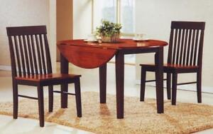 Kitchen Set Solid Wood with Extendable Leafs - 3 pc - Espresso | Oak 3 pc Set / Espresso | Oak