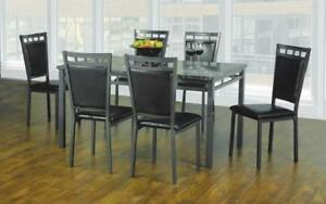 Kitchen Set with Marble Top - 5 pc or 7 pc - Espresso | Gun Metal Grey 7 pc Set / Espresso | Gun Metal Grey