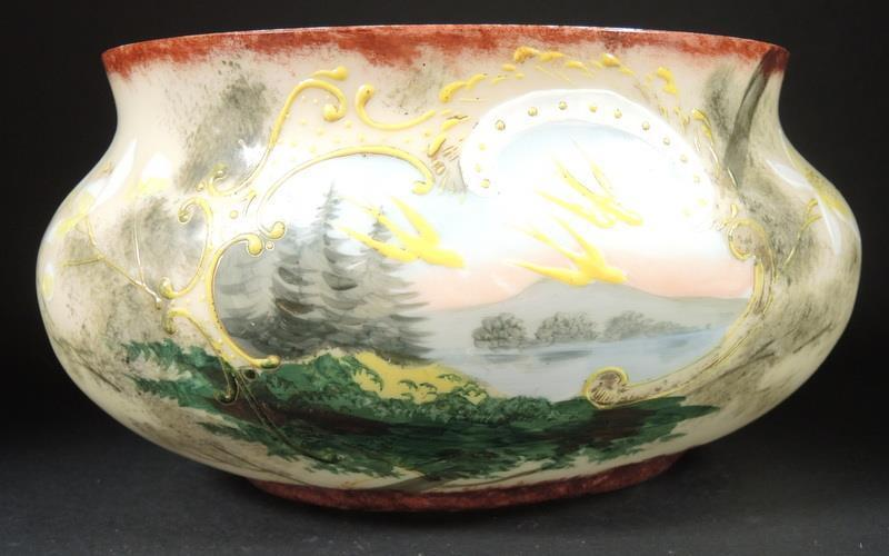 Antique Hand Painted Bristol Glass Oval Bowl Daffodils and Birds