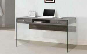 Office Desk with 2 Drawers and Acrylic Legs - Distressed Wood Distressed Wood