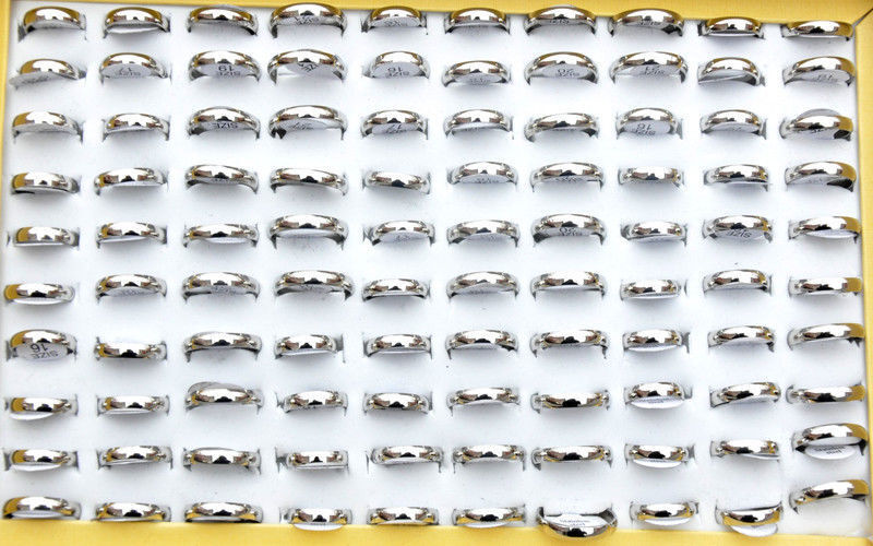 Fashion 24pcs Wholesale Jewelry Lots Unisex Stainless Steel Simple Band Ring NEW
