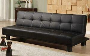 Leather Sofa Bed with Black Legs - Black Black