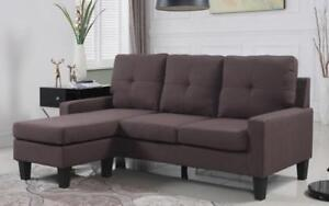 ***BLOWOUT SALE**** LINEN SECTIONAL WITH REVERSIBLE CHAISE -- (BROWN)**LOWEST PRICES
