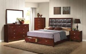 Bedroom Set with Tufted Leather Head Board 8 pc - Brown King / Brown