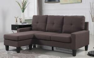 *** BRAND NEW *** HUGE SALE *** LINEN SECTIONAL WITH REVERSIBLE CHAISE -- (BROWN)***LIMITED STOCK****