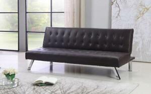 Leather Sofa Bed with Chrome Legs - Brown Brown