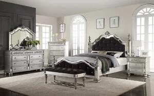 Bedroom Set with Mirror and Tufted Head - Foot Board 8 pc - Silver King / Silver