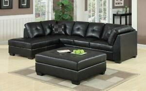 Leather Sectional Set with Left Side Or Right Side Chaise and Ottoman - Black Left Side Chaise / Black