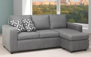 *** BRAND NEW *** HUGE SALE *** LINEN SECTIONAL WITH REVERSIBLE CHAISE (CHARCOAL GRAPHITE GREY)***LIMITED STOCK****