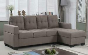 Linen Sectional with Left Side Or Right Side Chaise - Brown Right Side Chaise
