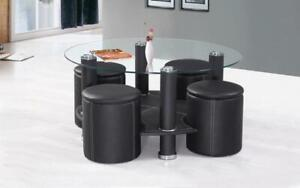 Coffee Table with 4 Stools - Black or Brown Black