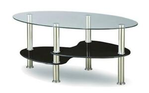 Coffee Table with Glass Top - Chrome   White   Black Black