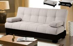 Micro Fabric Sofa Bed with Storage - Beige | Black Black | Beige