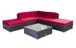 Outdoor Sectional Set - 6 pc (Dark Brown & Red) Dark Brown & Red