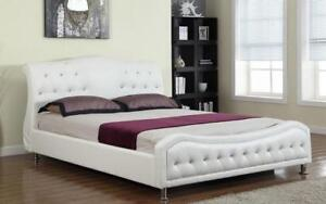 Platform Bed Bonded Leather with Jewels - White King / White / Bonded Leather