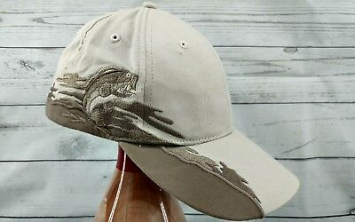 Preowned Embroidered Khaki Tan Baseball Cap Fishing Hat 076a25684cb0