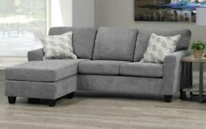 Velvet Fabric Sectional with Reversible Chaise - Grey Grey